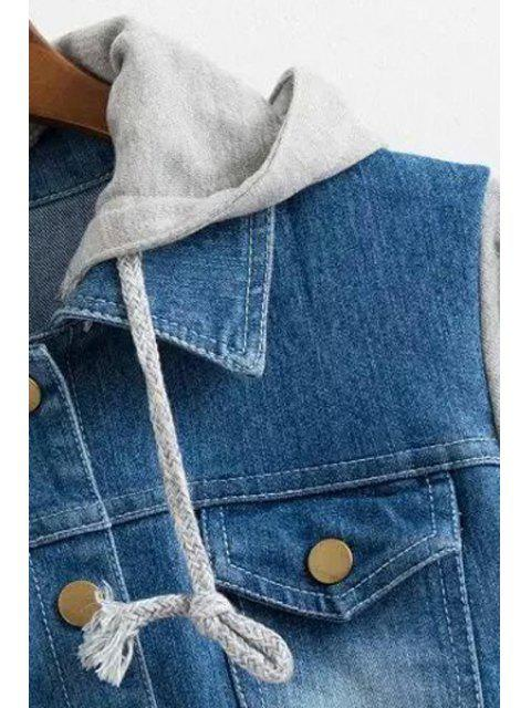 latest Casual Hooded Denim Splicing Long Sleeve Coat - GRAY XL Mobile