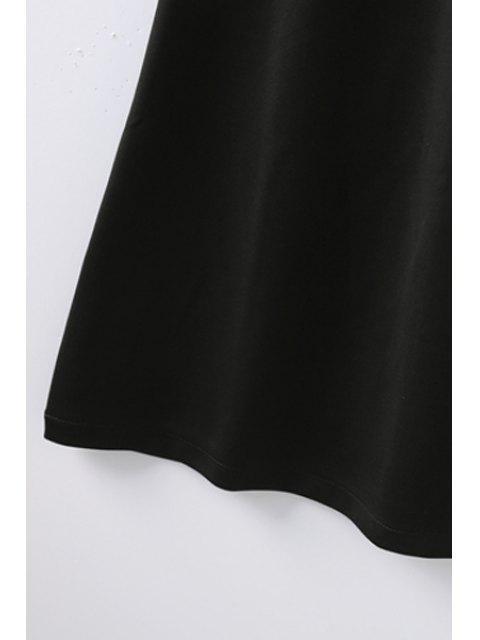 online Retro Embroidered Zippered Round Neck Short Sleeve Black Shift Dress - BLACK S Mobile