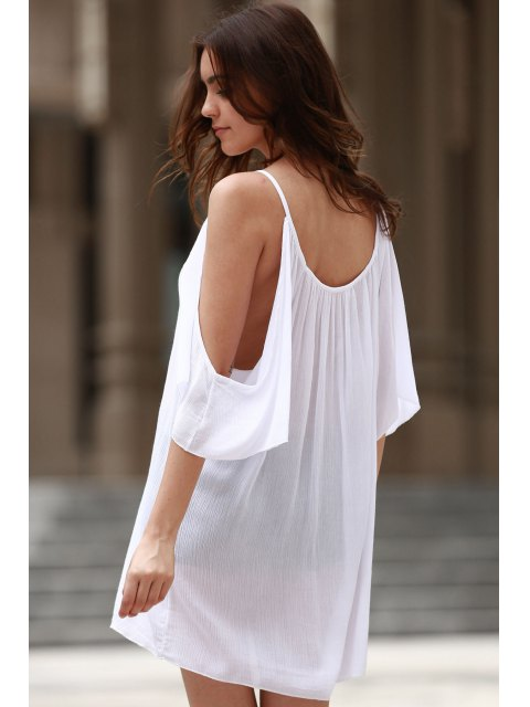 unique Cold Shoulder Lacework Splicing 3/4 Sleeve Dress - WHITE S Mobile