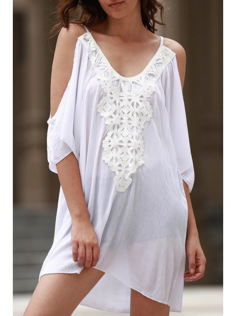 affordable Cold Shoulder Lacework Splicing 3/4 Sleeve Dress - WHITE L Mobile