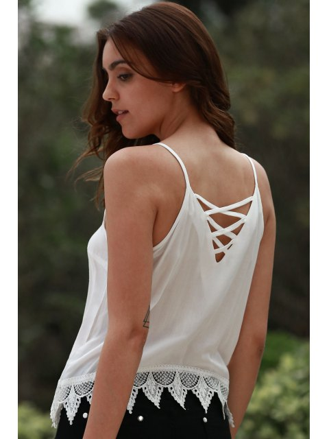 latest Lace Up Cami Tank Top - WHITE XL Mobile