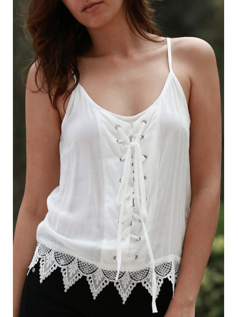 Tank Top cami lacets - Blanc M Mobile