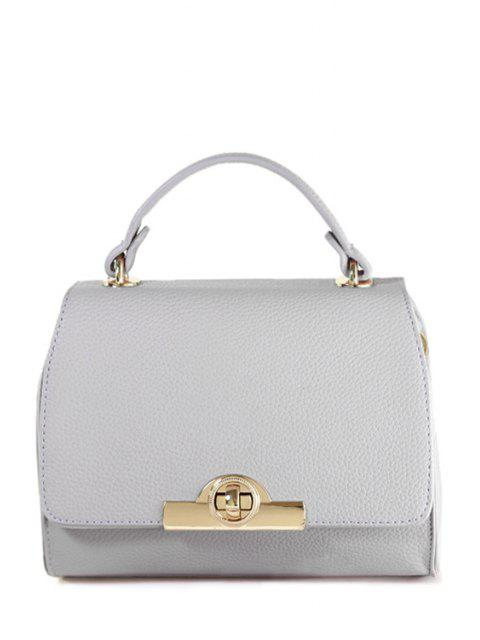 online Solid Color Hasp Metallic Tote Bag - GRAY  Mobile