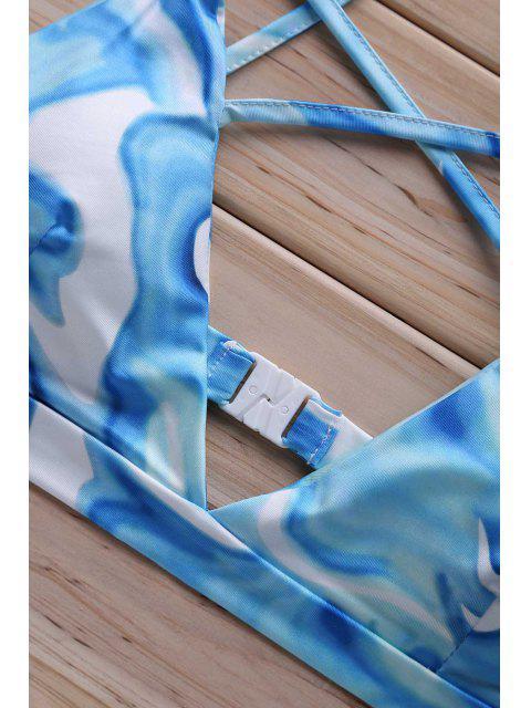 fashion Floral Print Cross Halter Bikini Set - LIGHT BLUE L Mobile