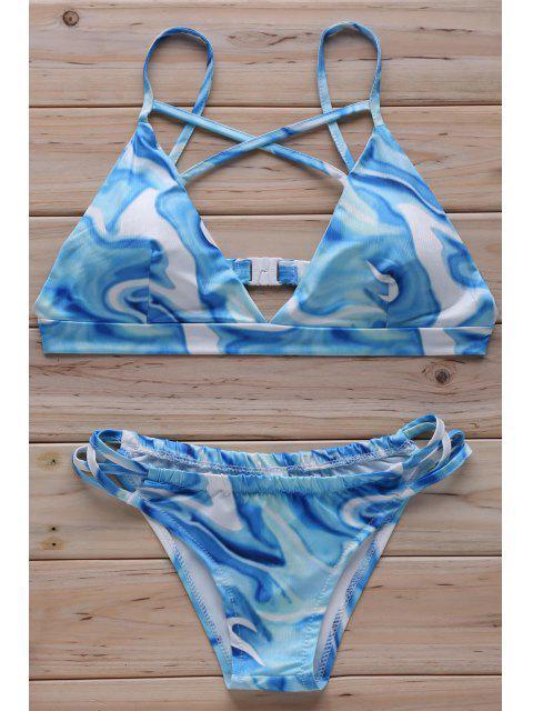 latest Floral Print Cross Halter Bikini Set - LIGHT BLUE S Mobile