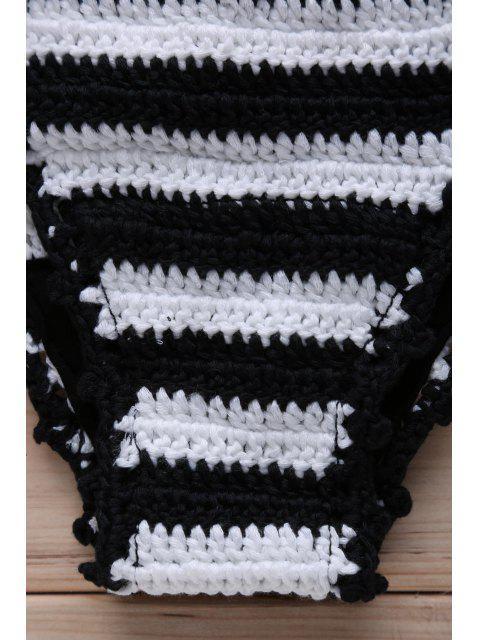 fashion Striped Knitted String Bikini Set - WHITE AND BLACK M Mobile