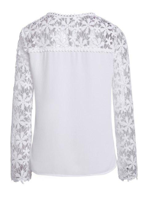 outfit Crochet Flower Spliced Long Sleeve Blouse - WHITE L Mobile