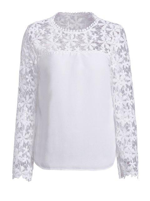 Flor de ganchillo empalmada blusa de manga larga - Blanco 2XL Mobile