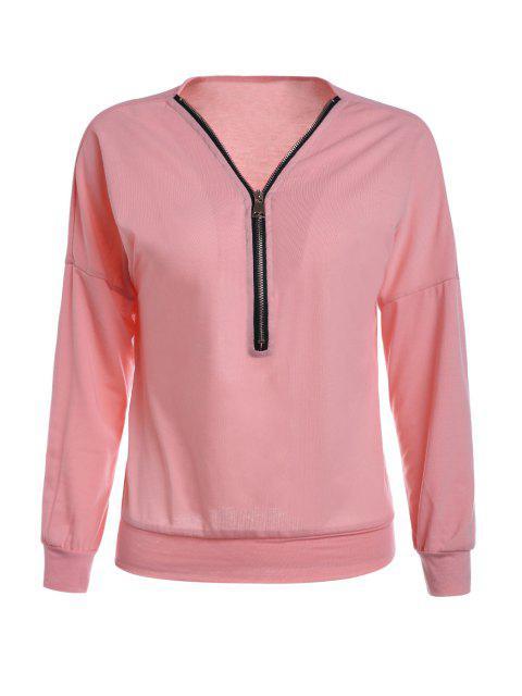 new Long Sleeve Zippered T-Shirt - PINK XL Mobile
