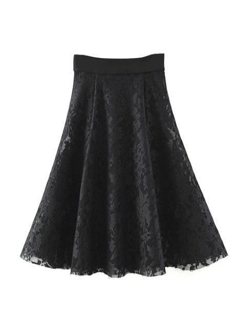 Solide Couleur taille haute A-ligne Floral Lace Skirt - Noir M Mobile
