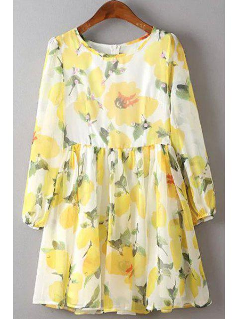 best Flower Print Round Neck 3/4 Sleeve Dress - YELLOW L Mobile