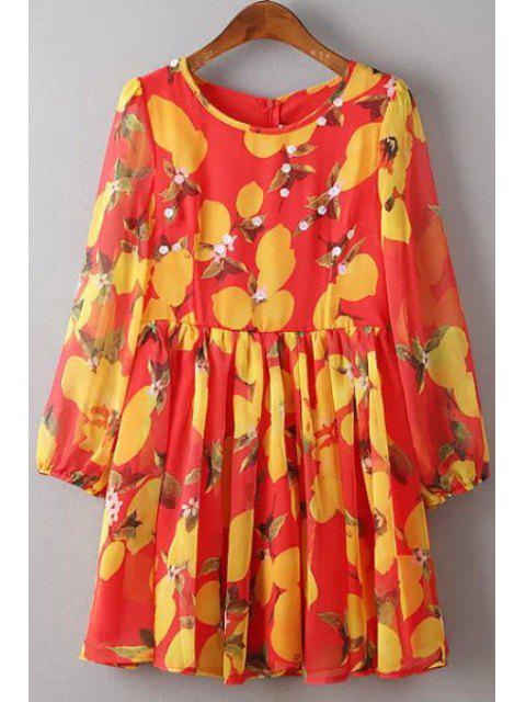 buy Flower Print Round Neck 3/4 Sleeve Dress - RED S Mobile