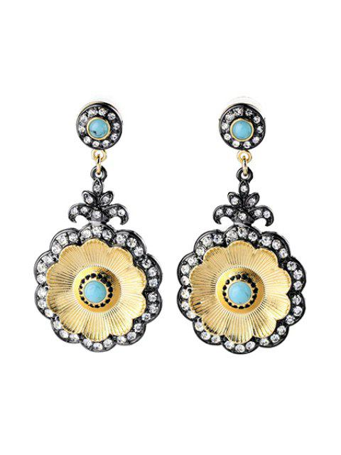 outfit Vintage Rhinestone Floral Shape Earrings - GOLDEN  Mobile