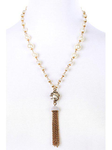 lady Vintage Alloy Rhinestone Link Chain Tassel Necklace - GOLDEN  Mobile