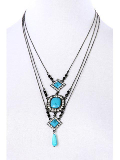 ladies Rhinestone Turquoise Multilayered Necklace - BLACK  Mobile