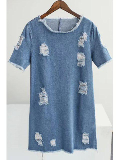 ladies Loose Broken Hole Round Neck Short Sleeve Denim Dress - BLUE S Mobile