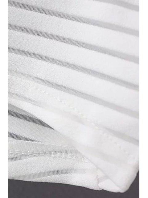women Loose See Through Round Neck Bat-Wing Sleeve Blouse - WHITE L Mobile