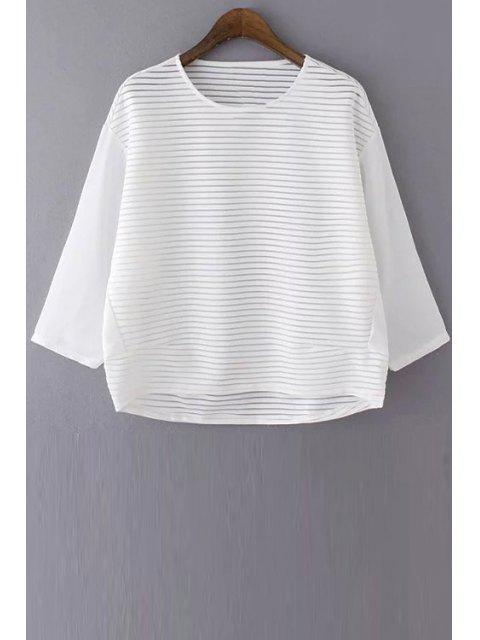 womens Loose See Through Round Neck Bat-Wing Sleeve Blouse - WHITE M Mobile