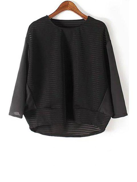 affordable Loose See Through Round Neck Bat-Wing Sleeve Blouse - BLACK L Mobile