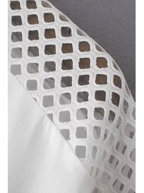 unique Solid Color Mesh Splicing Turn-Down Collar 3/4 Sleeve Dress - WHITE 2XL Mobile