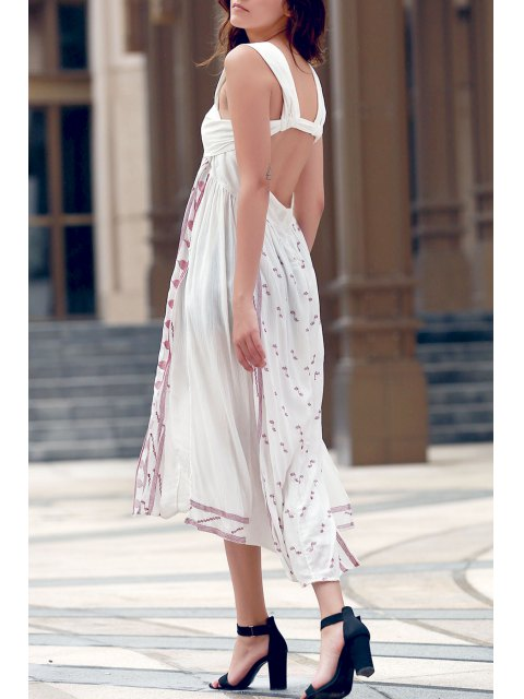 Backless bretelles broderie latérale Robe fendue - Blanc S Mobile