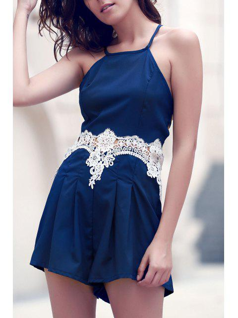 best Lace Insert Cami Romper - PURPLISH BLUE M Mobile