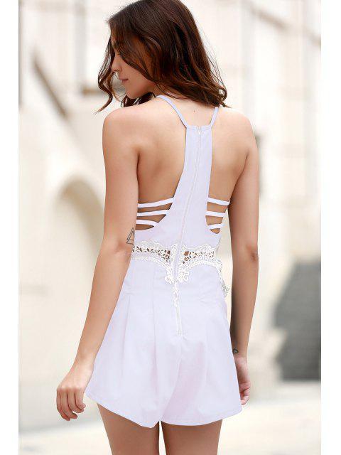 women Lace Insert Cami Romper - LIGHT PURPLE M Mobile