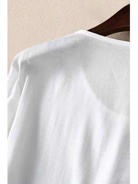 Vrac Imprimer Floral Oiseau rond T-shirt à manches longues col - Blanc M Mobile