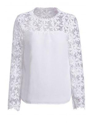 Blusa De Manga Comprida Em Pedaços De Flor De Croché - Branco 4xl