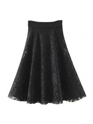Color Sólido De Alta Cintura Una Línea De Falda De Encaje Floral - Negro M