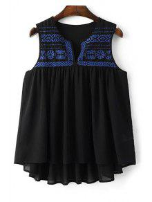 Loose Embroidery Round Neck Tank Top - Black L