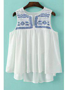 Buy Loose Embroidery Round Neck Tank Top - WHITE L