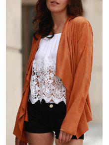 Suede Turn-Down Collar Long Sleeve Waisted Coat - Dark Khaki Xl