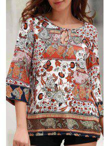 Printed Round Collar 3/4 Sleeve Blouse - S