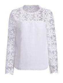 Crochet Flower Spliced Long Sleeve Blouse - White Xl