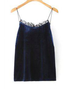 Solid Color Lace Border Spaghetti Straps Tank Top - Purplish Blue L