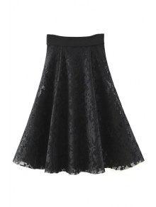 Solid Color High Waist A-Line Floral Lace Skirt - Black M
