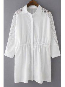 Solid Color Mesh Splicing Turn-Down Collar 3/4 Sleeve Dress - White 2xl