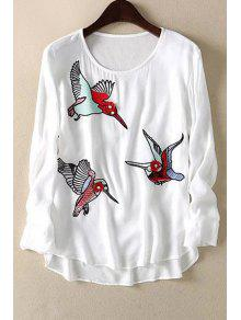 Loose Floral Bird Print Round Neck Long Sleeve T-Shirt - White M