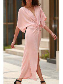 Light Pink Plunging Neck Half Sleeve Maxi Dress - SHALLOW PINK M