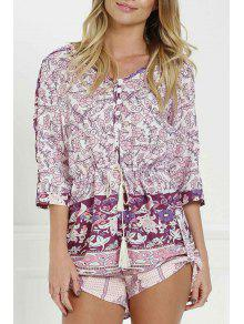 Floral Print V Neck 3/4 Sleeve Romper - Purplish Red L