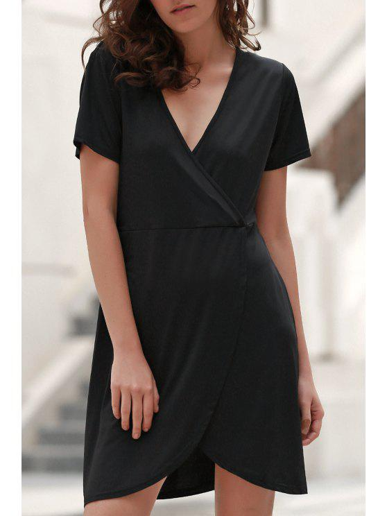 sale Solid Color Irregular Hem V Neck Tulip Dress - BLACK L
