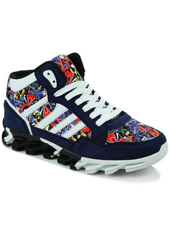 أوبرا بكين قناع نمط جلد الغزال أحذية رياضية - أزرق 44