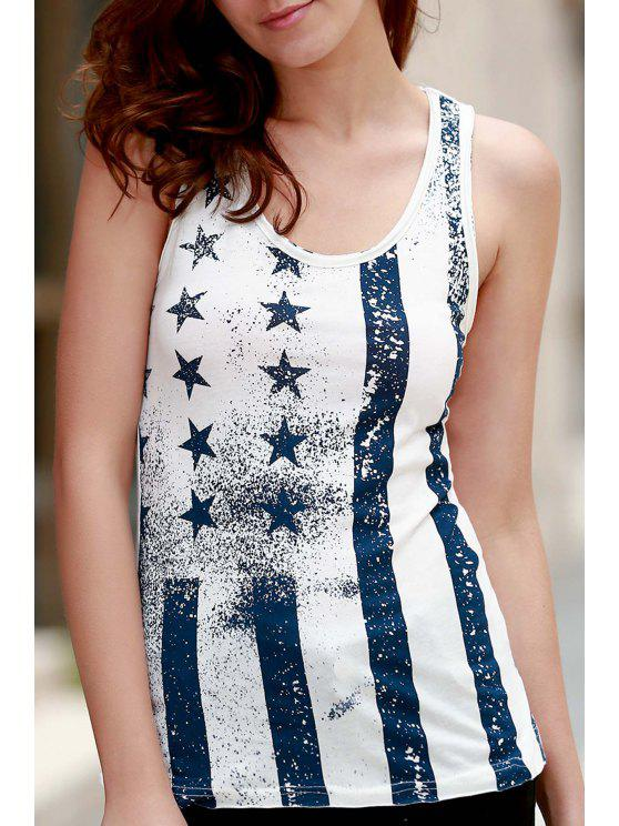 outfits Ombre Star Print Scoop Neck Sleeveless Tank Top - WHITE M