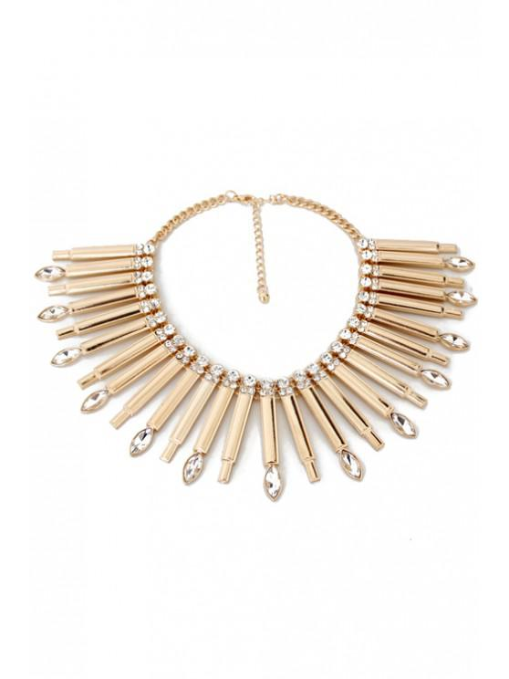 women's Glaring Faux Crystal Stick Necklace - GOLDEN
