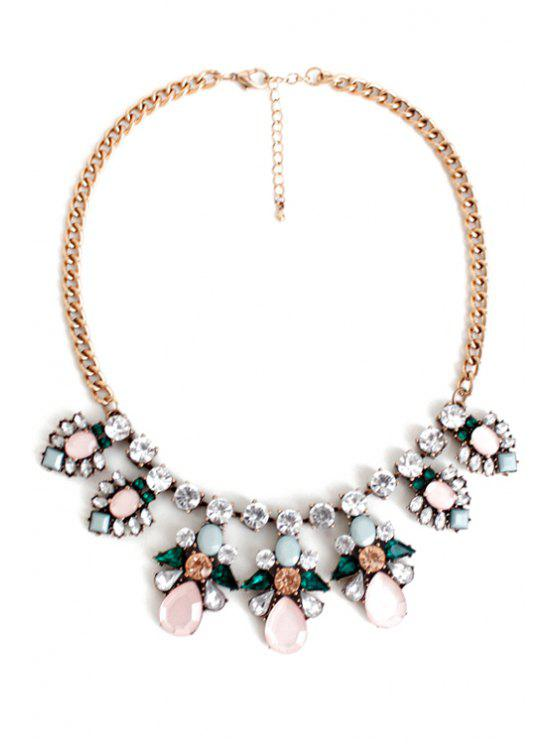 hot Glaring Faux Gemstone Floral Necklace - COLORMIX