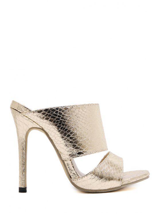 best Metallic Color Stiletto Heel Slippers - GOLDEN 37