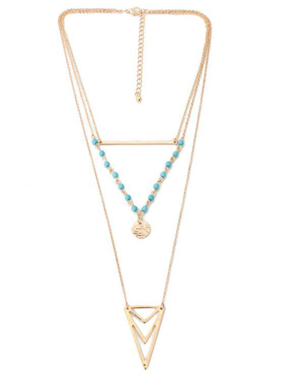 womens Triangle Multi-Layered Necklace - GOLDEN