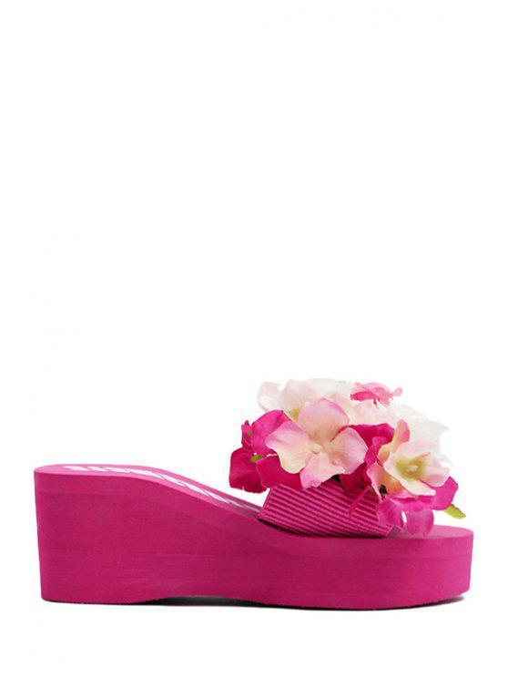 fancy Flowers Elastic Platform Slippers - ROSE 39