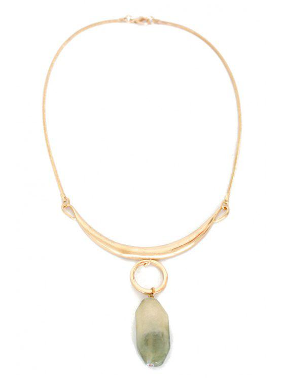 buy Delicate Alloy Natural Stone Necklace - GOLDEN